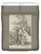 Praying Male Penitent In The Wilderness Duvet Cover