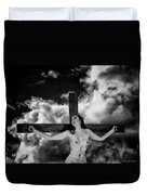Praying On Cross Duvet Cover
