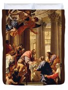 Presentation In The Temple Duvet Cover by Simon Vouet