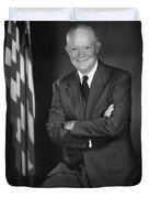 President Eisenhower And The U.s. Flag Duvet Cover