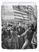 President Lincoln Holding The American Flag Duvet Cover