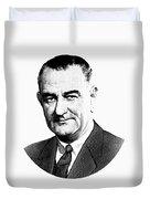 President Lyndon Johnson Graphic - Black And White Duvet Cover