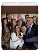 President Obama Honors Us Womens Soccer Team At White House #1 Duvet Cover