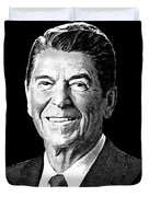 President Ronald Reagan Graphic - Black And White Duvet Cover