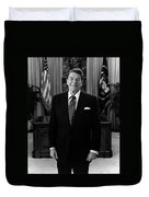 President Ronald Reagan In The Oval Office Duvet Cover
