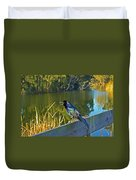 Pretty Bird At A Sunrise Duvet Cover