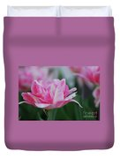 Pretty Candy Striped Pale Pink Tulip In Bloom Duvet Cover
