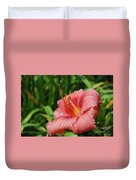 Pretty Flowering Pink Lily In A Garden Duvet Cover