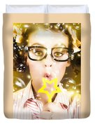 Pretty Geek Girl At Birthday Party Celebration Duvet Cover