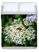 Pretty Little Ladybug Duvet Cover by Mariola Bitner