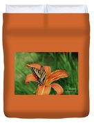 Pretty Orange Lily With A Butterfly On It's Petals Duvet Cover