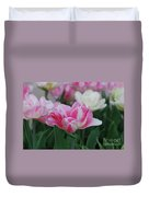 Pretty Pink And White Striped Ruffled Parrot Tulips Duvet Cover