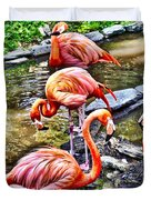 Pretty Pink Flamingos Duvet Cover