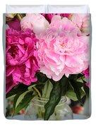 Pretty Pink Peonies In Ball Jar Vase Duvet Cover