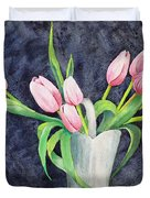 Pretty Pink Tulips Duvet Cover by Dee Carpenter