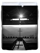 Pretty Place Aka Fred W. Symmes Chapel Black And White Duvet Cover