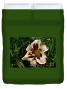 Pretty Single Blooming Daylily In A Garden Duvet Cover