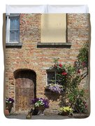 Pretty Terrace Beside The Groenerei Canal In Bruges Belgium Duvet Cover