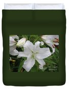Pretty White Lilies Blooming In A Garden Duvet Cover