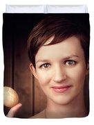 Pretty Young Brunette Woman Holding Hatching Egg Duvet Cover