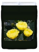 Prickly Pear Cactus Blossoms Duvet Cover