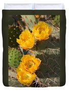 Prickly Pear Cactus Flowers Duvet Cover