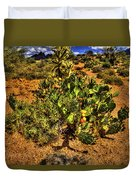 Prickly Pear In Bloom With Brittlebush And Cholla For Company Duvet Cover