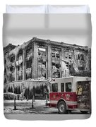 Pride, Commitment, And Service -after The Fire Duvet Cover by Jeff Swanson