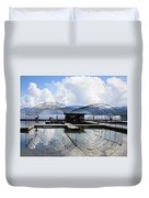 Priest Lake Boat Dock Reflection Duvet Cover