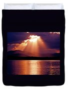 Priest Lake Sunset Heavenly Light Duvet Cover