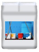 Primary Colors - Paint Buckets On A Ship Duvet Cover