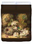 Primroses And Bird's Nests On A Mossy Bank Duvet Cover