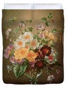 Primulas In A Glass Vase  Duvet Cover