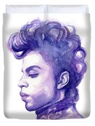 Prince Musician Watercolor Portrait Duvet Cover