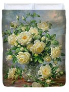 Princess Diana Roses In A Cut Glass Vase Duvet Cover