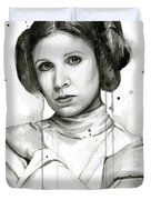 Princess Leia Portrait Carrie Fisher Art Duvet Cover by Olga Shvartsur