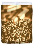 Print Industry Typographic Letters And Numbers Duvet Cover