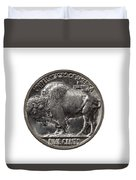 Pristine Buffalo Nickel On White Background  Duvet Cover