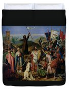 Procession Of Crusaders Around Jerusalem Duvet Cover by Jean Victor Schnetz