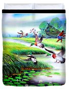Artistic Painting Photo Flying Bird Handmade Painted Village Art Photo Duvet Cover