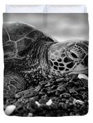 Profile Hawaiian Sea Turtle Bw Duvet Cover