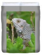 Profile Of A Gray Iguana In The Top Of A Bush Duvet Cover