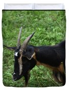 Profile Of A Pygmy Goat In A Farm Field Duvet Cover