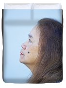 Profile Portrait Of A Lovely Filipina With A Mole On Her Cheek   Duvet Cover