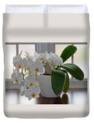 Profusion Of White Orchid Flowers Duvet Cover