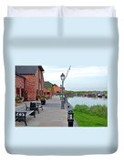 Promenade And Boats At Barton Marina Duvet Cover