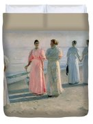 Promenade On The Beach Duvet Cover by Michael Peter Ancher