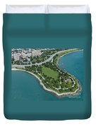 Promontory Point In Burnham Park In Chicago Aerial Photo Duvet Cover