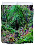 Psychedelic Fern Gully On Mt Tamalpais Duvet Cover