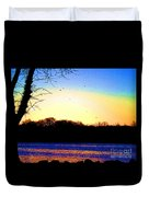 Psychedelic Sunrise On The Delaware River Duvet Cover